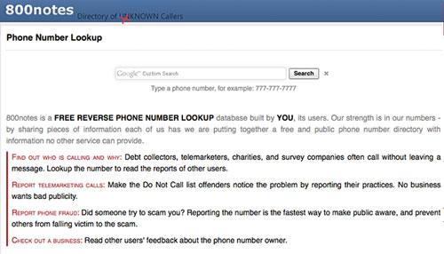Reverse phone lookup free 800