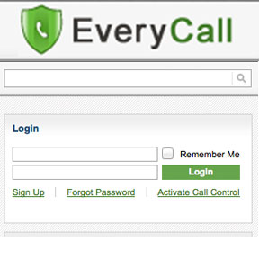 A picture of the everycall.us homepage and login area