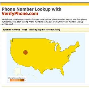 A screenshot of www.verifyphone.com and the intensity map for recent reports