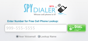 the homepage for spy dialer