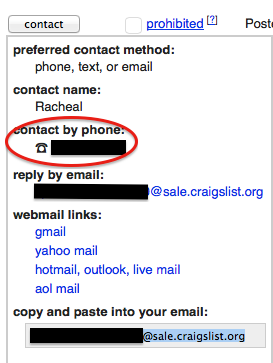 Click on the contact button to show the contact information