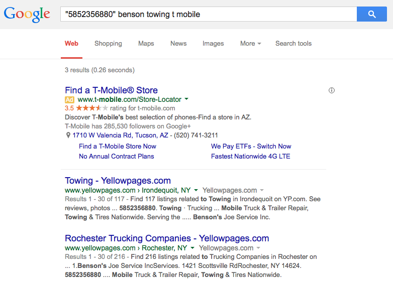 Example of a T-Mobile phone search