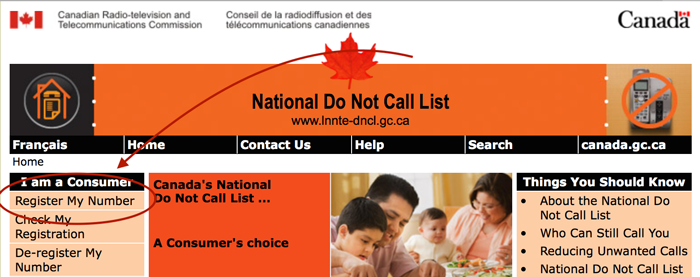 This picture shows you how to register your phone number for the canadian no not call list