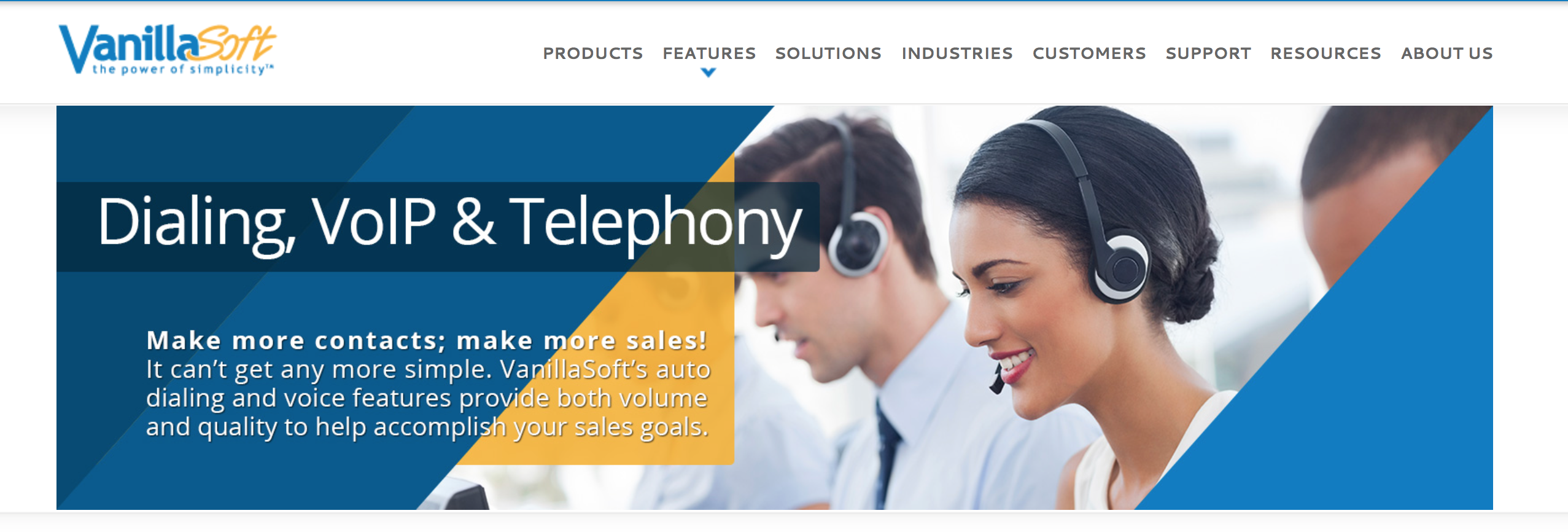 Picture of the homepage of vanillasoft.com