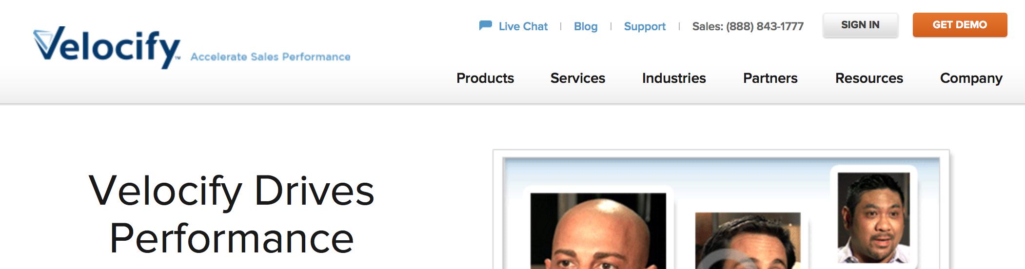 homepage screenshot of velocify.com