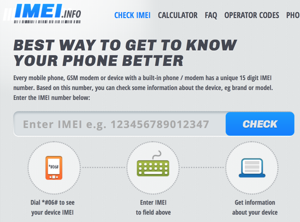 IMEI.info lookup homepage screen shot