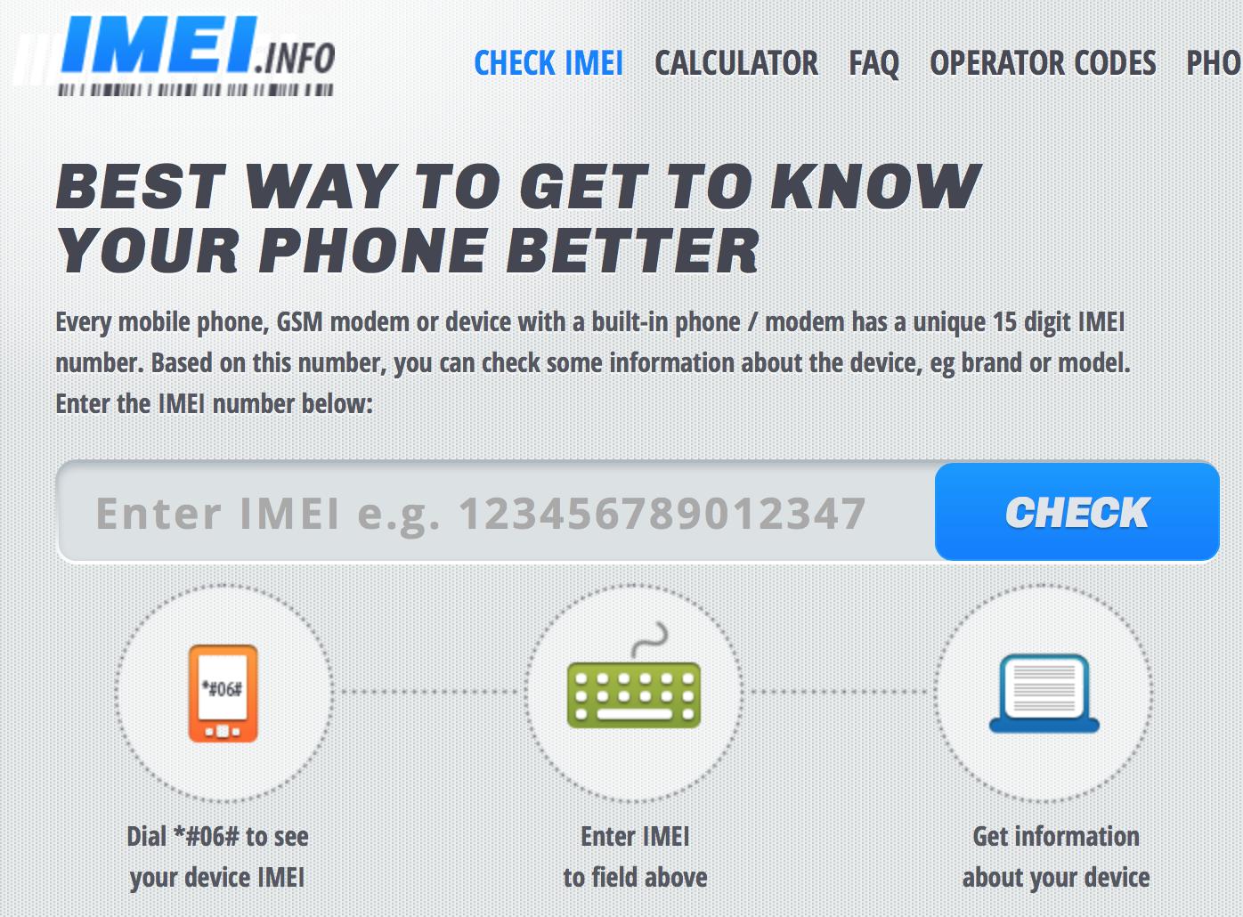 IMEI.info lookup homepage screen shot
