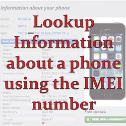 Lookup phone details using an IMEI number