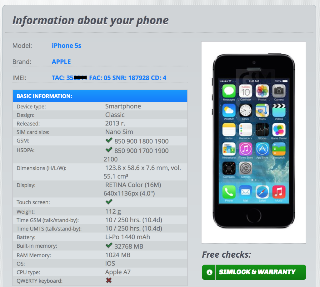 a screenshot of the results page for an iPhone 5 when using IMEI.info