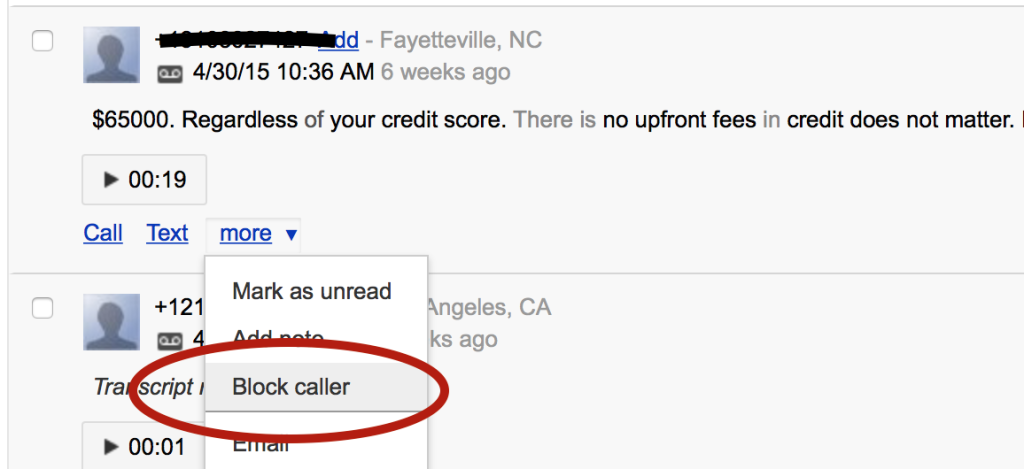 google voice caller blocking