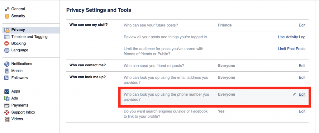 settings privacy phone number facebook