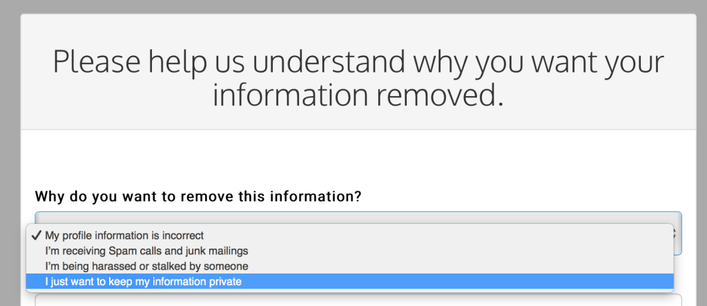 keep your information private on the white pages website