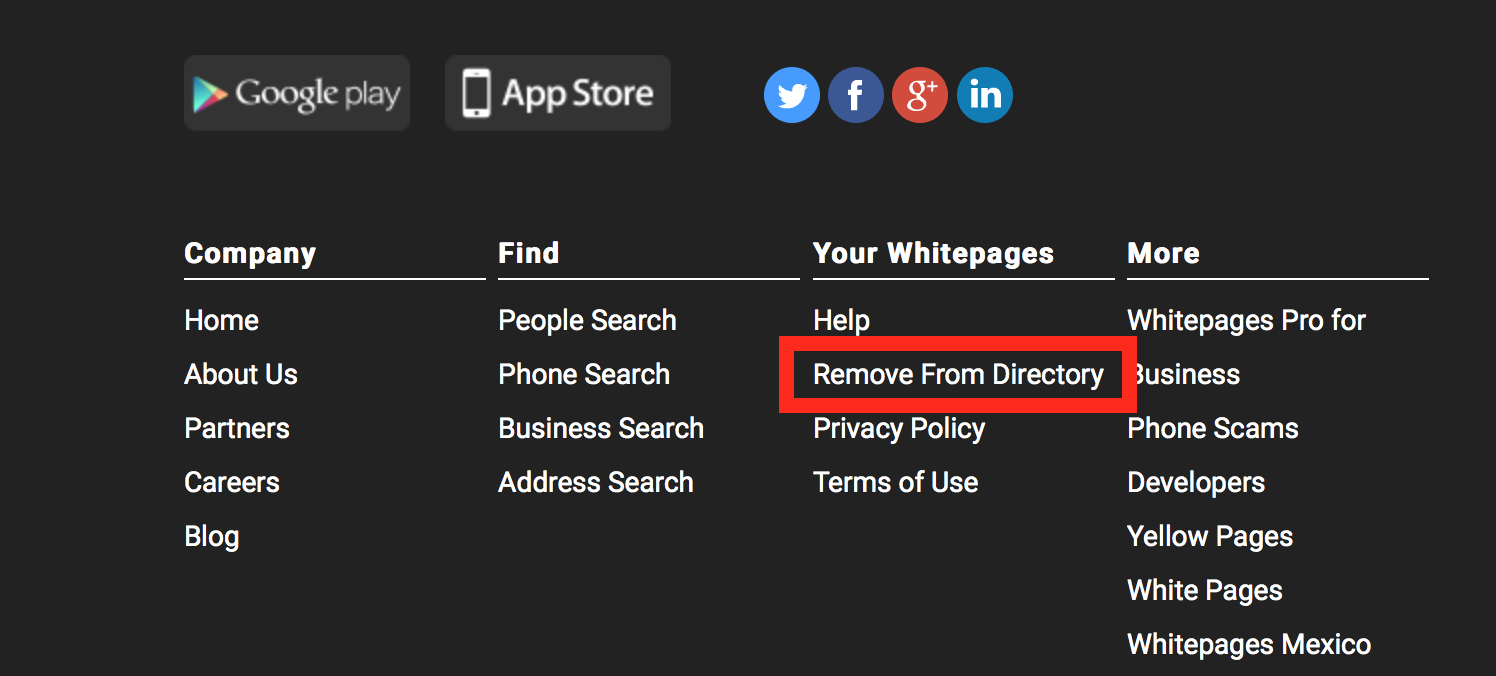 remove information from white pages directory