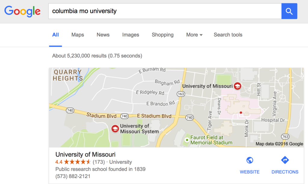 finding a college via google search from the phone number
