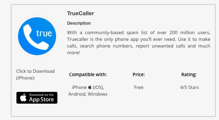 TrueCaller app details