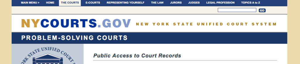 user a website like the new york courts government website to lookup phone numbers