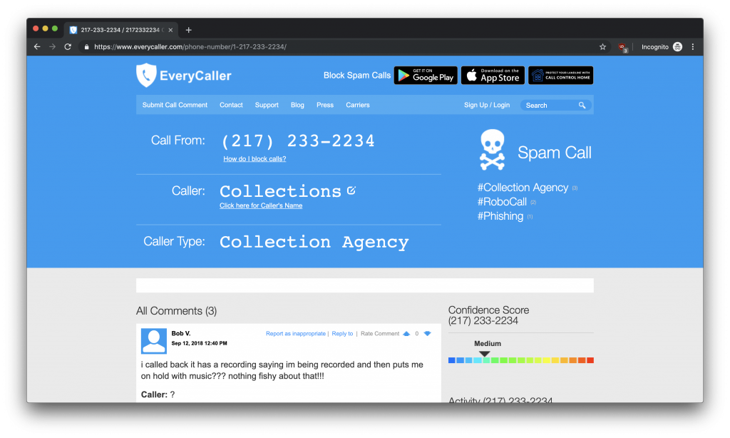 A screenshot of a search results page for EveryCaller.com