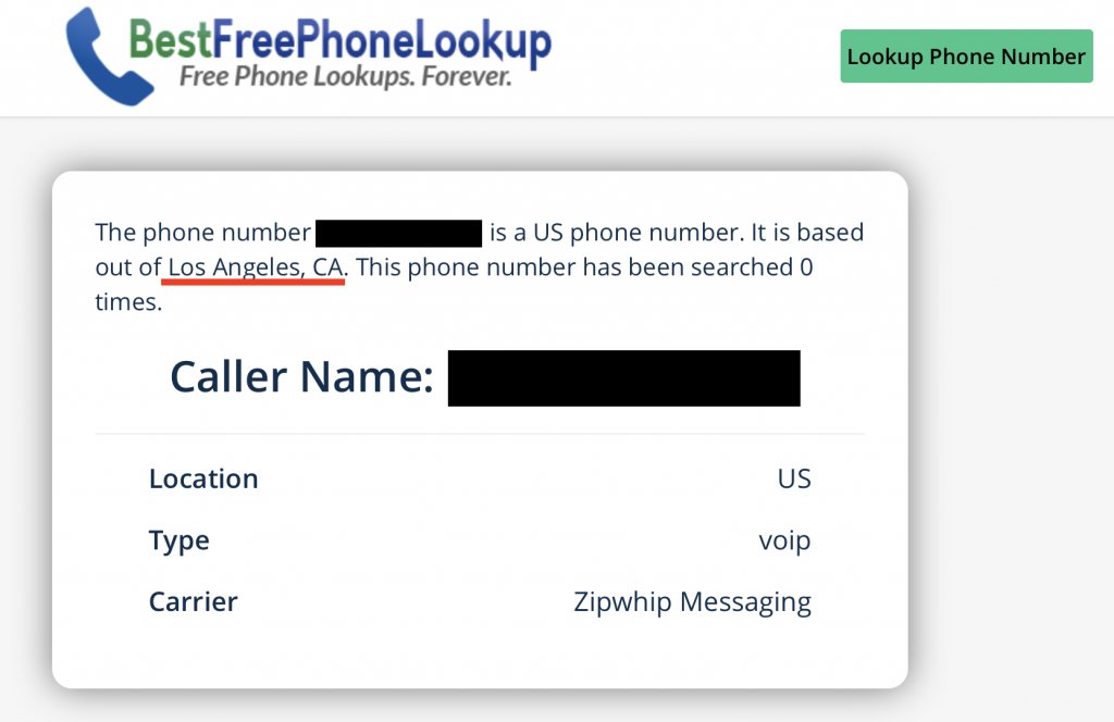 the city and state is displayed once you perform a search for the phone number using the free phone number lookup tool