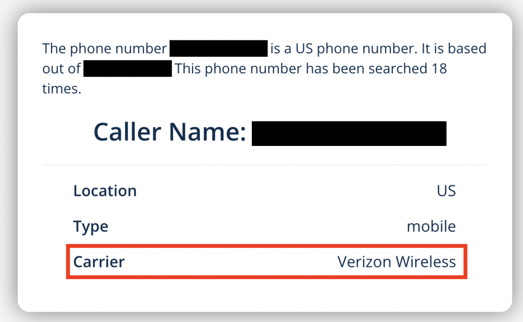 Results page when looking up a phone number on BestFreePhoneLookup.com - reveals the full name of the caller, in addition to the location and carrier associated with the landline or cell phone number